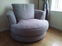 Dune fabric grey swivel armchair