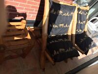 Large pair of bamboo chairs and table