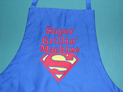 SUPERMAN ROYAL BLUE HEAVY APRON PERSONALIZED DAD FATHER EMBROIDERED UpTo 3 WORDS ()
