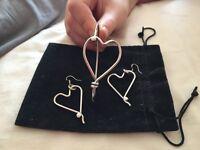 Re-spoke bracelet and earring set. Hearts!