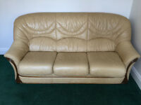 LEATHER THREE SEAT, TWO SEAT AND CHAIR SET