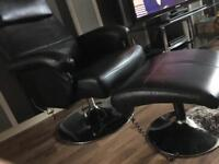 Faux leather armchair&footstool