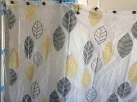 Shower curtain, adjustable pole and clips