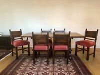 Dining Table + 6 Chairs in Beautiful Solid Wood - Traditional Tudor Webber - Mahogany Colour
