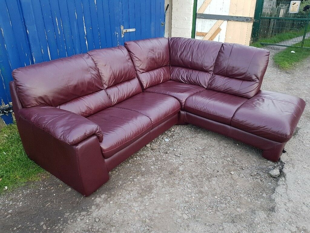 Scs Real Soft Leather Corner Sofa In Leicester