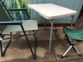 Camping folding table, chair and stool