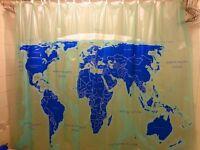 World Map designer Shower Curtain plus BMI Weigh Scales foot board + bathmat