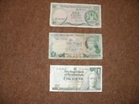 THREE £1 NOTES - SEE BELOW FOR DETAILS - IN GOOD CONDITION - £20. BANGOR AREA.
