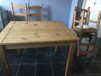 Table and chairs x4. Maybole