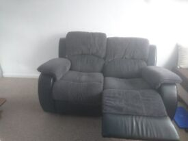 2 seater sofa leather and fabric