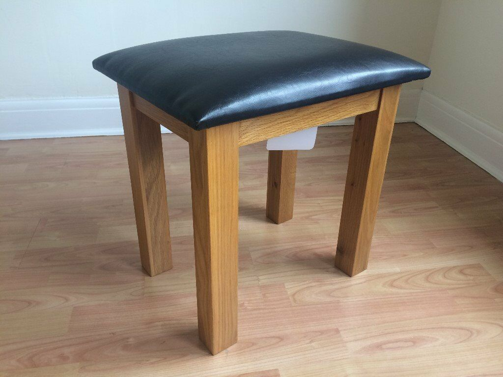 Modern Solid Oak Black Leather Foot Stool Living Room