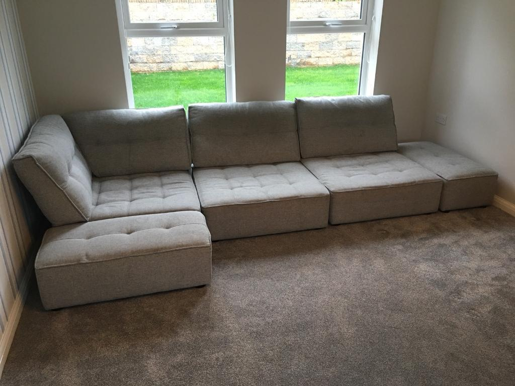 Fama Arianne L Shaped Modular Sofa Grey In Bangor