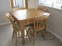 Solid pine square dining table and 4 chairs