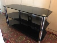 TV Stand with 3 tiers in black glass