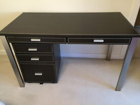 Brown leather effect home office desk and 3 drawer pedestal. V good condition.