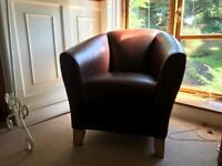 Two Brown Leather Arm Chairs (Matching Pair)