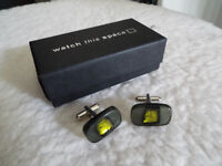 Green Acrylic with gold detail Cufflinks