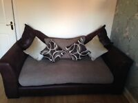 DFS 3 seater settee, swivel chair and chair