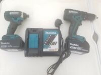 USED MAKITA 18 V CORDLESS TWIN SET. DRILL & IMPACT DRIVER ETC. SEE PHOTOS & DETAILS