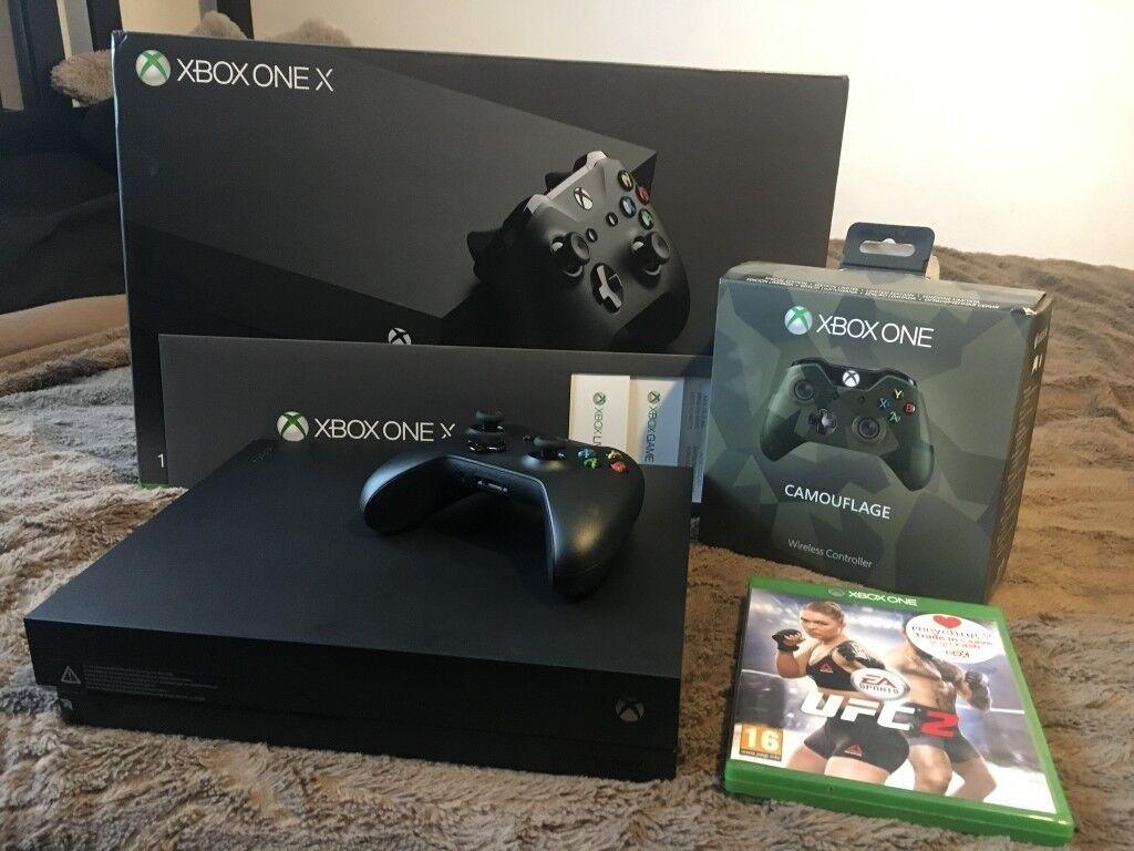 Xbox One X 1TB + Special Edition Army Camo Controller / UFC 2 / Xbox ...