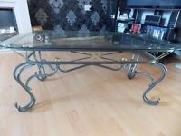 Coffee Table, Metal & Glass £20