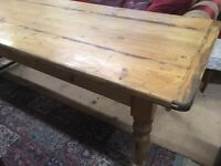 LARGE SOLID PINE DINING TABLE ..212 cms x 88 cms
