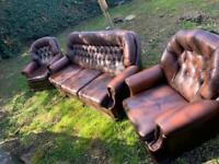 Chesterfield sofa and armchairs