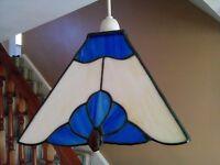 Tiffany Glass Art Deco Light Shades and Lamp Set