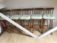 Wooden breakfast table bar chairs with cushions