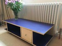Ikea Robin blue tv stand on castors