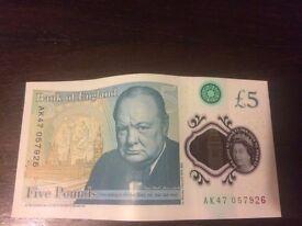 AK-47 057926 !!!! Bank of England Polymer £5 Five Pound Note