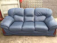 Blue 3 Seat leather Sofa