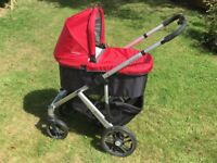 Uppababy Vista Pushchair and Carrycot (includes both red AND blue covers, plus car seat adaptors)