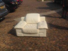 Armchair - white / leather / adjustable backrest