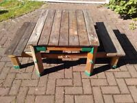 Picnic table sandpit