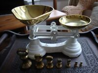 Kitchen Scales,With Traditional Brass Bell Weights.