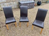 Brown Leather Dining Chairs x3