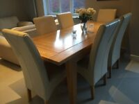 House of Frazer large dining room table and 6 leather chairs