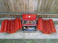 3 Halfords Steel tool boxes with tools
