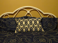 Navy and tan cotton duvet cover and shams - standard double - plus gorgeous coordinating cushion