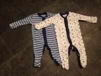 2x Newborn baby boys sleep suits / baby boy clothes