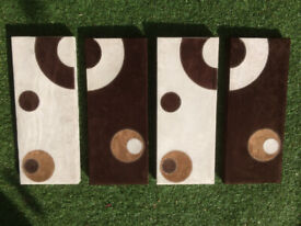 4 SUEDE ART CANVAS PICTURES
