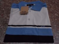 New Men's Hugo Boss style T shirt in Blue and Cream size Medium