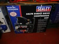 SEALEY 2HP COMPRESSOR WITH 50LTR TANK