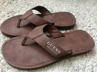 Men's brown Guess leather flip flops Size 8 Never worn - mint condition