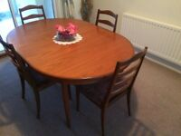 G Plan Fresco extending dining table & 4 chairs in immaculate condition - Reduced for Quick Sale!