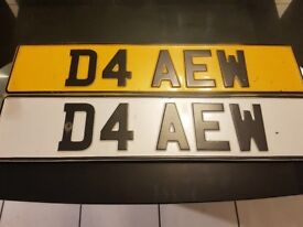 Personalised number plate car registration for sale D4AEW