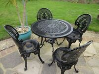 GARDEN FURNITURE SET - TABLE AND 4 CHAIRS - CAST ALUMINIUM -