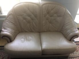 3 beige leather sofas