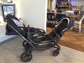 ABC ZOOM twin pushchair, seats can face either way, excellent condition. Includes rain cover